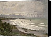 Grey Clouds Painting Canvas Prints - The Beach at Sainte Adresse Canvas Print by Claude Monet