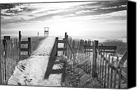 Fence Canvas Prints - The Beach in Black and White Canvas Print by Dapixara Art