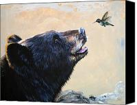 Featured Painting Special Promotions - The Bear and the Hummingbird Canvas Print by J W Baker