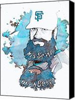 Mlb Canvas Prints - The Beard Canvas Print by Michael  Pattison
