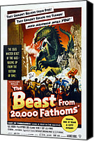 1953 Movies Canvas Prints - The Beast From 20,000 Fathoms, 1953 Canvas Print by Everett