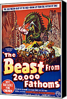 1950s Poster Art Canvas Prints - The Beast From 20,000 Fathoms Canvas Print by Everett