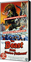 1953 Movies Canvas Prints - The Beast From 20,000 Fathoms, The, 1953 Canvas Print by Everett