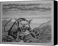 Stormy Drawings Canvas Prints - The Beast Canvas Print by James Willoughby III