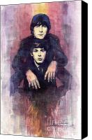 Beatles Canvas Prints - The Beatles John Lennon and Paul McCartney Canvas Print by Yuriy  Shevchuk