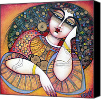 Woman Painting Canvas Prints - The Beauty Canvas Print by Albena Vatcheva