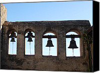 Mission Bells Canvas Prints - The Bells at the San Juan Capistrano Mission Canvas Print by Pat Cannon