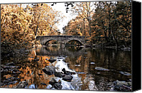 Chestnut Hill Canvas Prints - The Bells Mill Bridge in Autumn Canvas Print by Bill Cannon