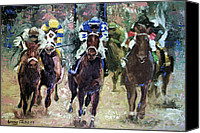 Impressionist Mixed Media Canvas Prints - The Bets Are On Canvas Print by Anthony Falbo