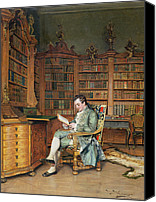 Library Painting Canvas Prints - The Bibliophile Canvas Print by Johann Hamza