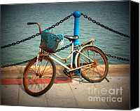 Rusty Digital Art Canvas Prints - The Bicycle Canvas Print by Carol Groenen
