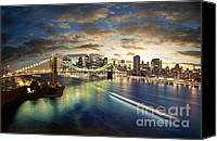 America Pyrography Canvas Prints - The Big Apple Canvas Print by Zarija Pavikevik