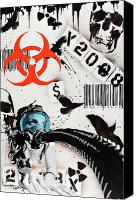 Goth Mixed Media Canvas Prints - The Biohazard Bargain Barcode Canvas Print by Iosua Tai Taeoalii
