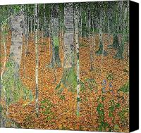 Austrian Canvas Prints - The Birch Wood Canvas Print by Gustav Klimt