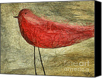 Acrylic Mixed Media Canvas Prints - The Bird - ft06 Canvas Print by Variance Collections