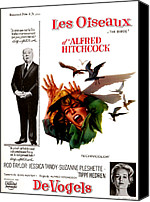 1960s Poster Art Canvas Prints - The Birds, Aka Alfred Hitchcocks The Canvas Print by Everett