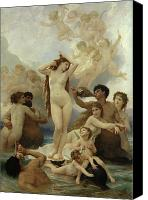 Mythology Canvas Prints - The Birth of Venus Canvas Print by William-Adolphe Bouguereau