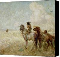 Bison Canvas Prints - The Bison Hunters Canvas Print by Nathaniel Hughes John Baird