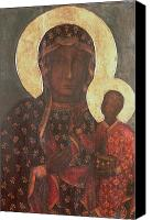 Byzantine Icon Canvas Prints - The Black Madonna of Jasna Gora Canvas Print by Russian School