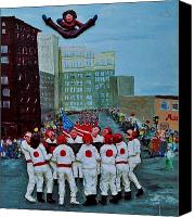 People Reliefs Canvas Prints - The blanket toss Canvas Print by Richard  Hubal