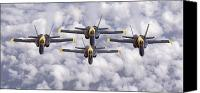 Demonstration Canvas Prints - The Blue Angels Fly In Diamond Canvas Print by Stocktrek Images