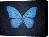 Transform Painting Canvas Prints - The Blue Butterfly Canvas Print by Edwin Alverio