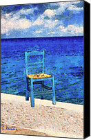 Greece Painting Canvas Prints - The blue chair Canvas Print by George Rossidis