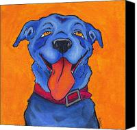Comic Canvas Prints - The Blue Dog of Sandestin Canvas Print by Robin Wiesneth