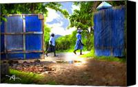 Haitian Canvas Prints - The Blue Gate Canvas Print by Bob Salo