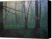 Surrealism  Canvas Prints - The Blue-green Forest Canvas Print by Derek Van Derven