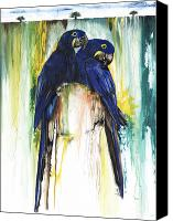 Parrots Canvas Prints - The Blue Parrots Canvas Print by Anthony Burks