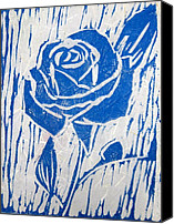 Floral Reliefs Canvas Prints - The Blue Rose Canvas Print by Marita McVeigh
