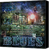 Blues Digital Art Canvas Prints - The Blues Canvas Print by Evie Cook