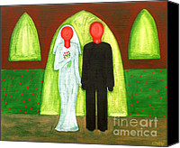 Christian Artwork Painting Canvas Prints - The Blushing Bride And Groom Canvas Print by Patrick J Murphy