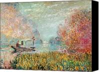 1875 Canvas Prints - The Boat Studio on the Seine Canvas Print by Claude Monet