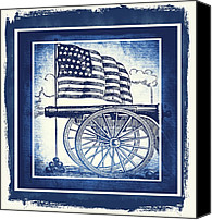 Patriotism Mixed Media Canvas Prints - The Bombs Bursting In Air Blue Canvas Print by Angelina Vick