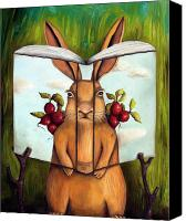 Easter Bunny Painting Canvas Prints - The Book Of Secrets 4-The Rabbit Story Canvas Print by Leah Saulnier The Painting Maniac