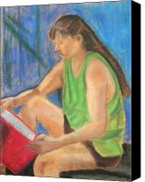Reading Pastels Canvas Prints - The Book Worm Canvas Print by Cori Solomon