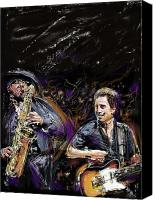 E Street Band Canvas Prints - The Boss and the Big Man Canvas Print by Russell Pierce