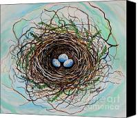Botanicals Canvas Prints - The Botanical Bird Nest Canvas Print by Elizabeth Robinette Tyndall