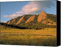 Sand Canvas Prints - The Boulder Flatirons Canvas Print by Jerry McElroy