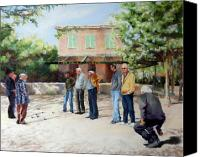 Game Pastels Canvas Prints - The Boules Players Canvas Print by Jeanne Rosier Smith