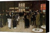 Tables Canvas Prints - The Boulevard at Night Canvas Print by Jean Beraud