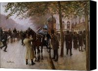 Horse Carriage Canvas Prints - The Boulevards Canvas Print by Jean Beraud