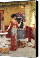 Ancient Greece Painting Canvas Prints - The Bouquet Canvas Print by John William Godward