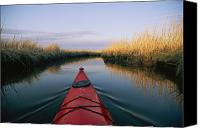 Wetlands Canvas Prints - The Bow Of A Kayak Points The Way Canvas Print by Skip Brown