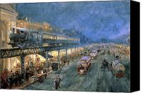 Watercolor On Paper Canvas Prints - The Bowery at Night Canvas Print by William Sonntag