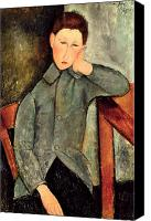 Contemplative Painting Canvas Prints - The Boy Canvas Print by Amedeo Modigliani