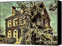 Haunted House Photo Canvas Prints - The Brick House Canvas Print by Marcie Adams Eastmans Studio Photography