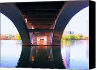 Austin Mixed Media Canvas Prints - The bridge Canvas Print by Diana Moya